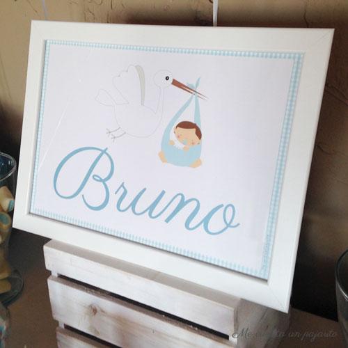 Lámina personalizada de la mesa dulce del bautizo de Bruno
