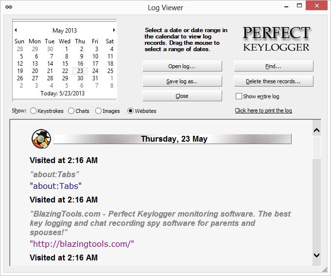 Przykładowy log programu Perfect Keylogger