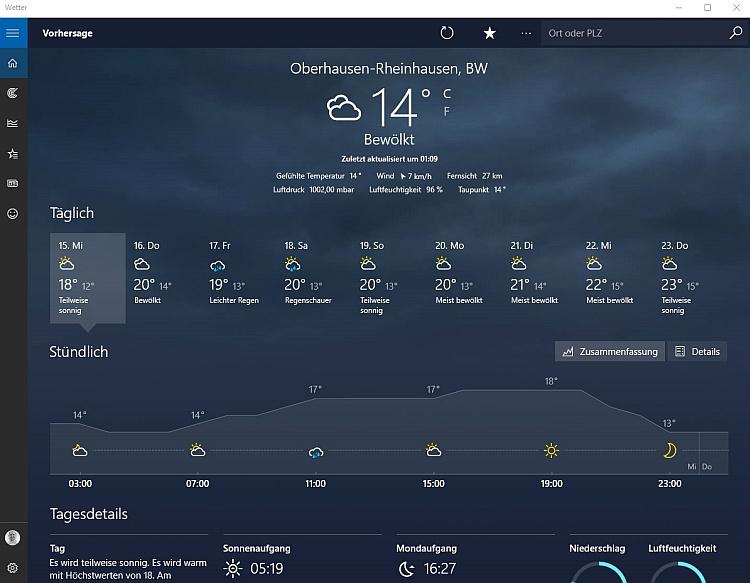Die Wetter App für Windows 10 zeigt nur die wichtigsten Daten an und spart somit Arbeitsspeicher.