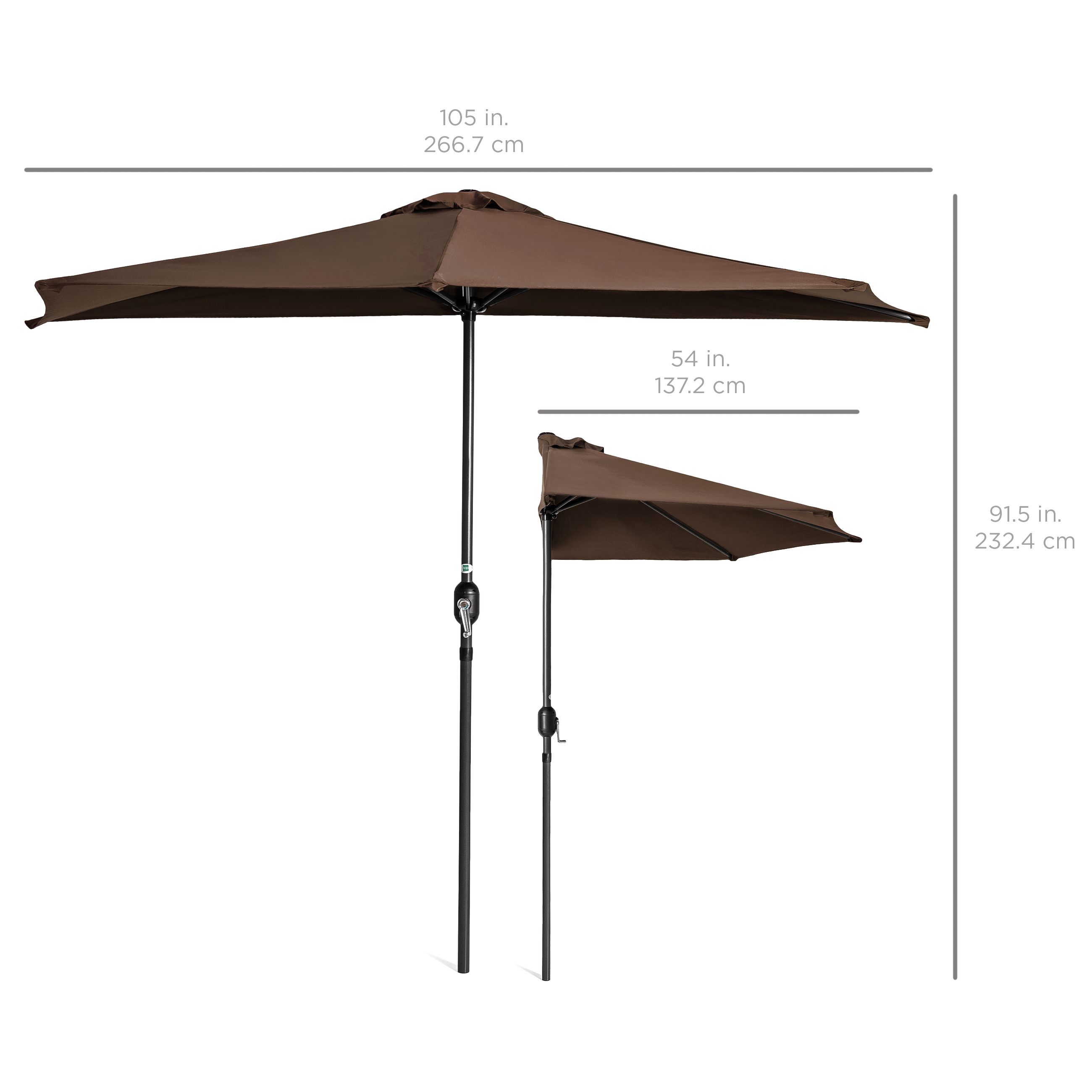 BCP-9ft-Half-Patio-Umbrella-w-Crank-Steel-Frame-UV-amp-Water-Resistant-Fabric thumbnail 18