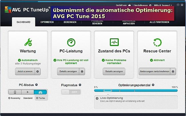 Übernimmt die automatische Optimierung: AVG PC TuneUp.