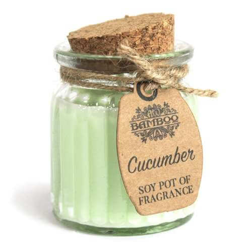 2x soy wax candle pot - cucumber