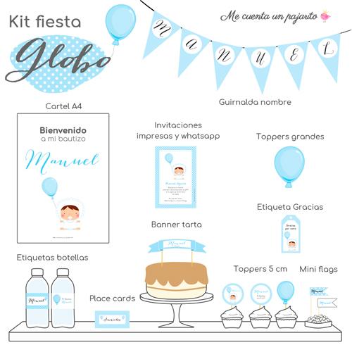 kit de bautizo personalizado bebe con globo