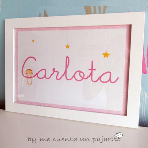 Lámina personalizada luna y estrellas, nombre Carlota