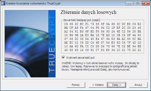 Zbieranie danych losowych TrueCrypt