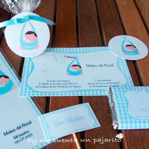 Papelería del bautizo de mateo, invitación de bautizo, recordatorio de bautizo, etiquetas de bautizo, chocolatina, cigüeña, bebe