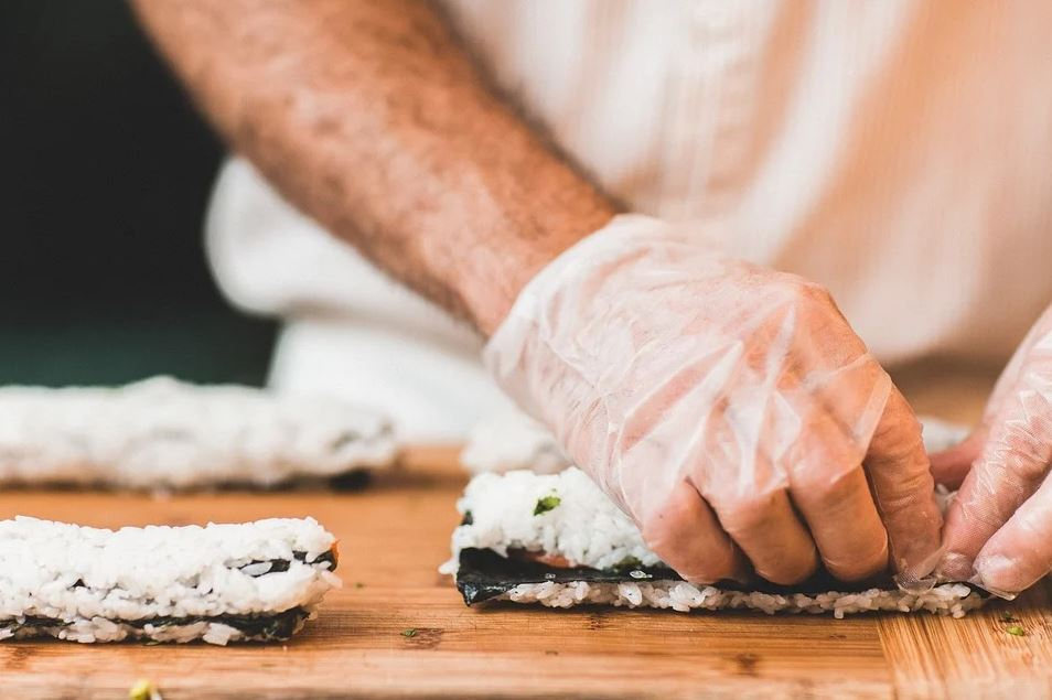 Cooking making sushi