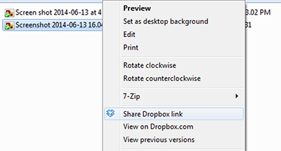 Share link from the Dropbox contextual menu