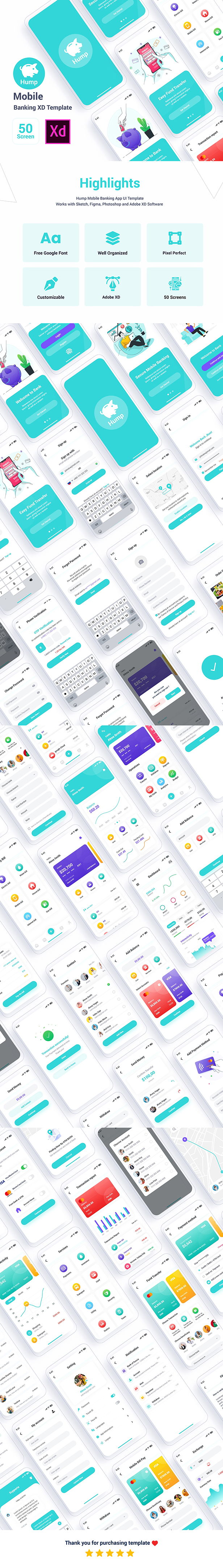 Hump – Mobile Banking Adobe XD Template - 1