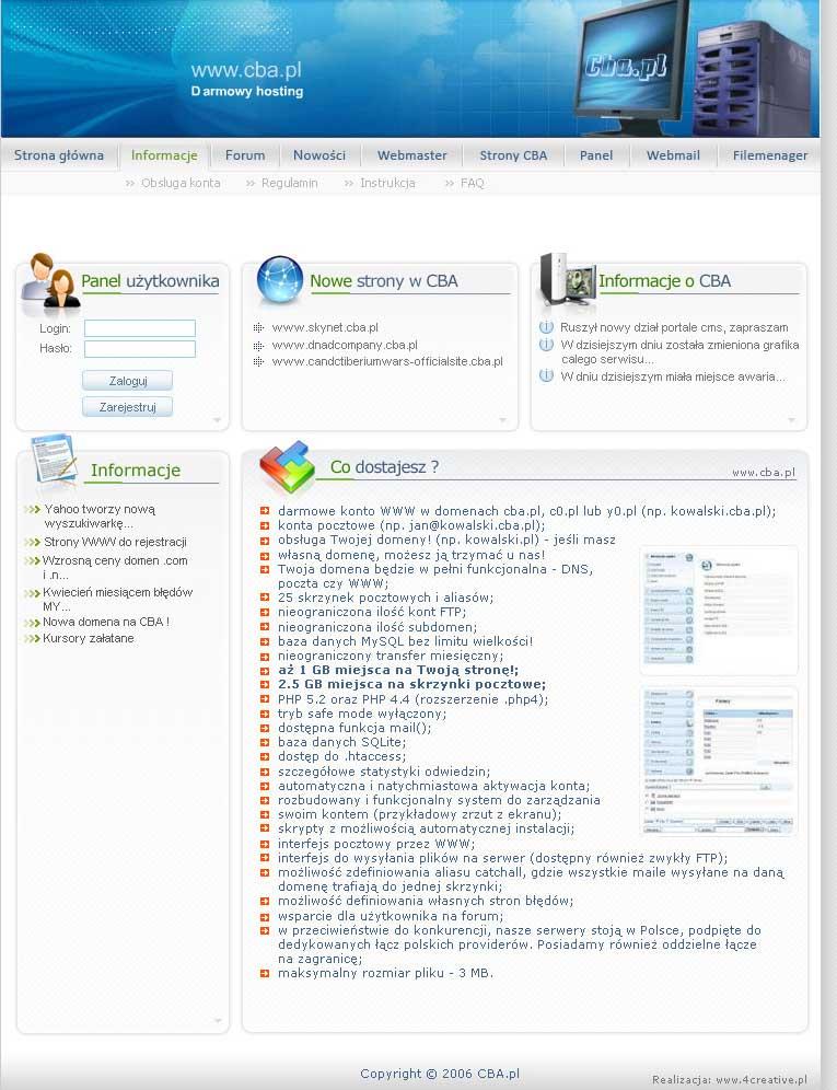 strona główna darmowego hostingu ftp - cba.pl
