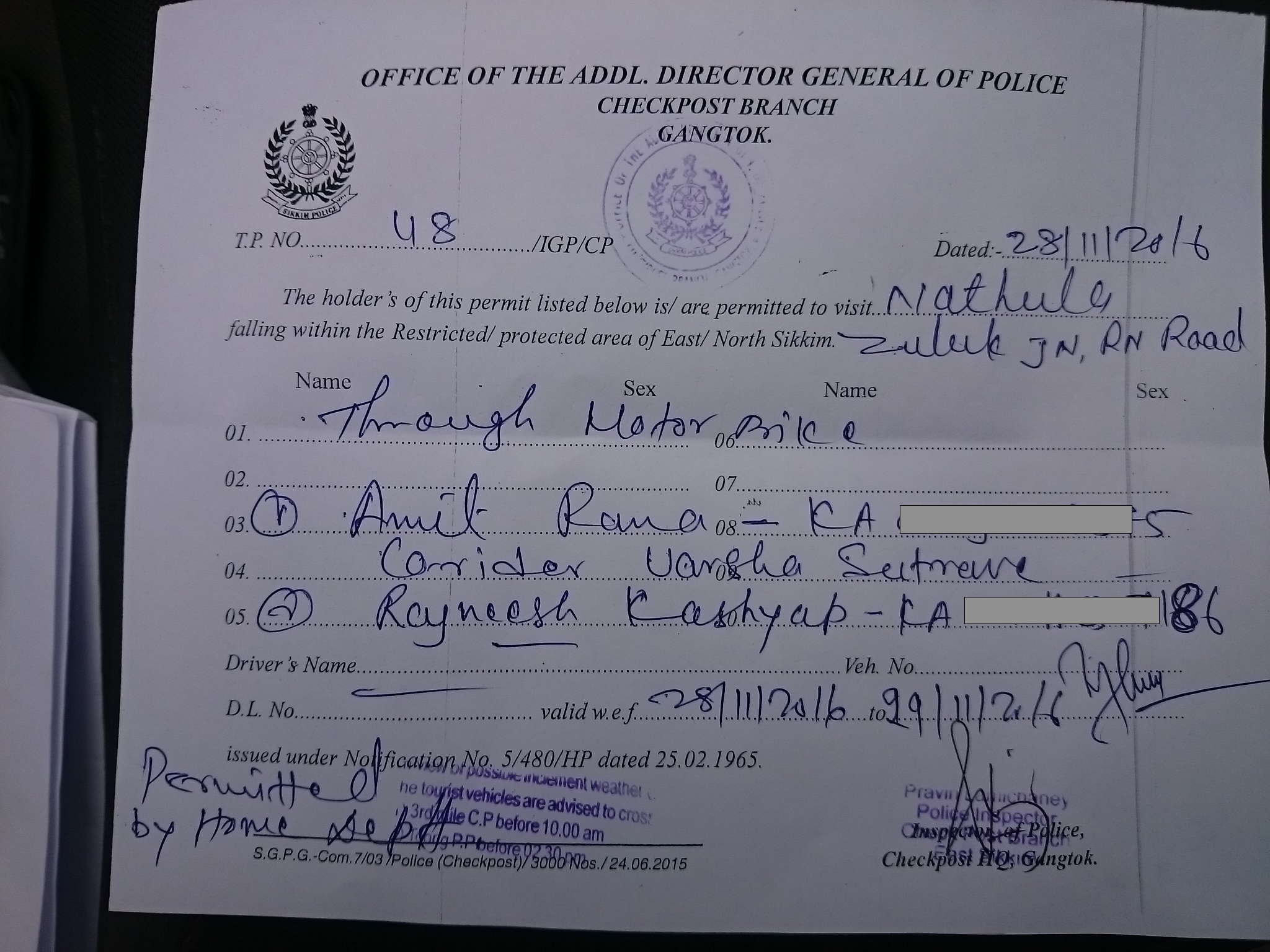 Permit for East Sikkim