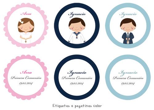 Etiquetas pegatinas de Primera Comunión personalizadas niña, niño, cruz mano, marco con color