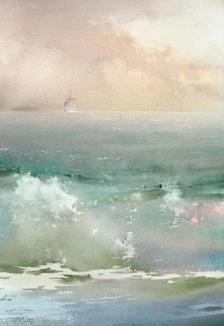 Temerev La ola en la orilla Acuarela