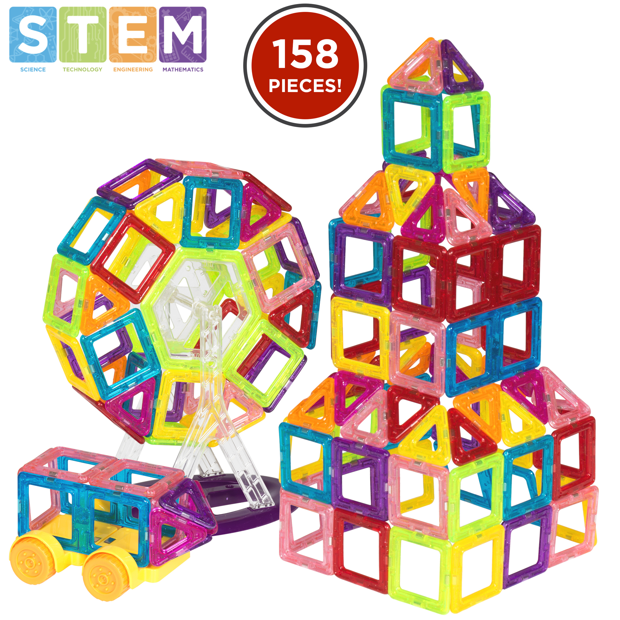 Toys Magnetic Tiles : Bcp piece kids magnetic building tiles toy set