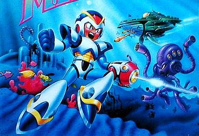 North American Mega Man X package/cartridge artwork.  Note that Launch Octopus, colored almost entirely purple for no discernible reason, is featured, as are elements/enemies from his level.