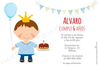 Invitación de cumpleaños del principe con globo