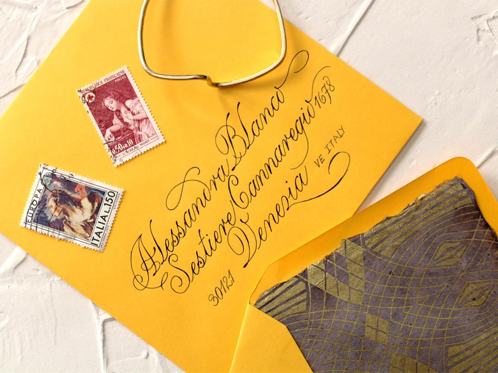 Cancelleresca Romana scripted envelope