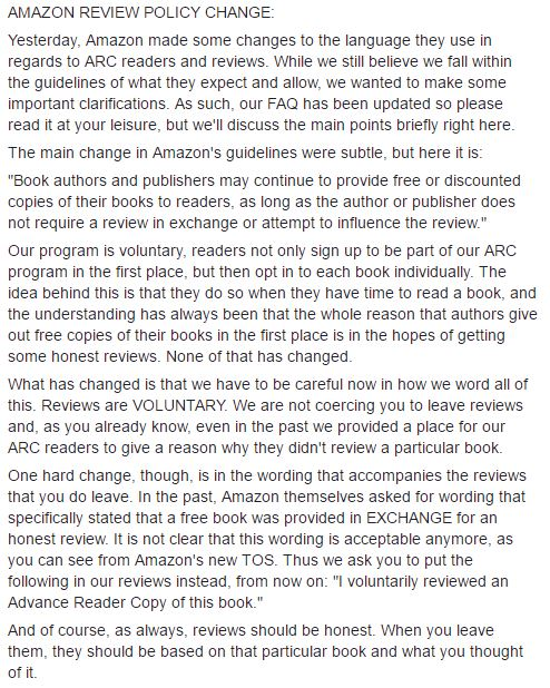 New Amazon review policy