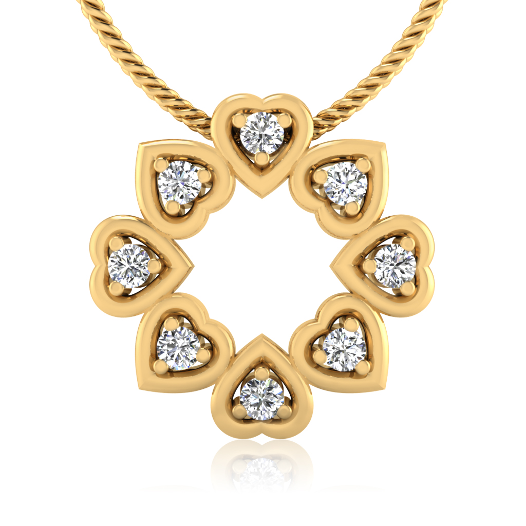 The Heart Disk Diamond Pendant