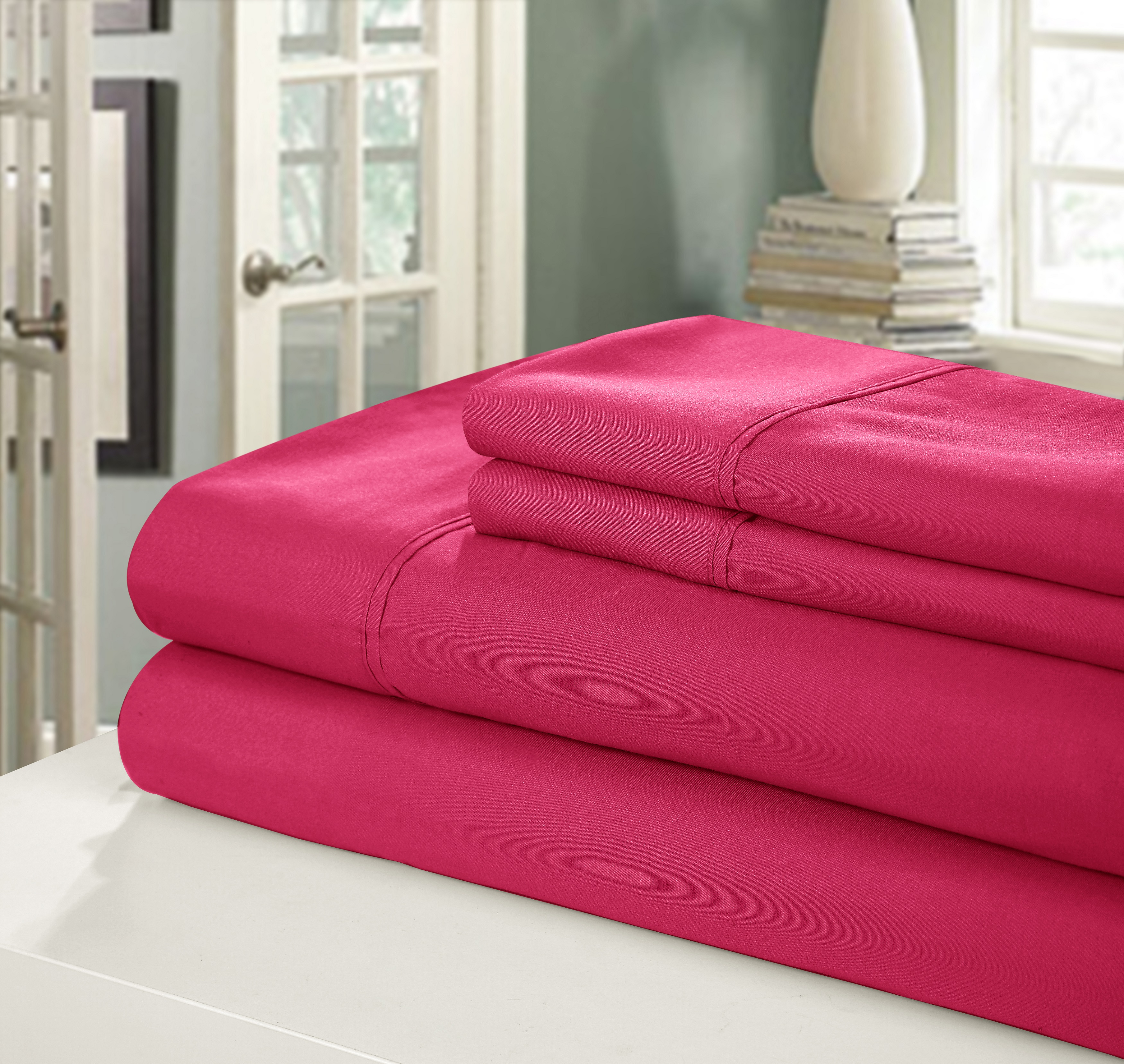 Chic Home NEW!! Chic Home 400 Series Peach Skin Microfiber 4-Piece Sheet Set Ensemble, Queen, Fuchsia
