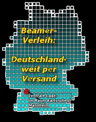 Beamer-Verleih: deutschlandweit möglich - durch die zentrale Lage im Raum Karlsruhe / Mannheim können Sie mich auch schnell direkt erreichen