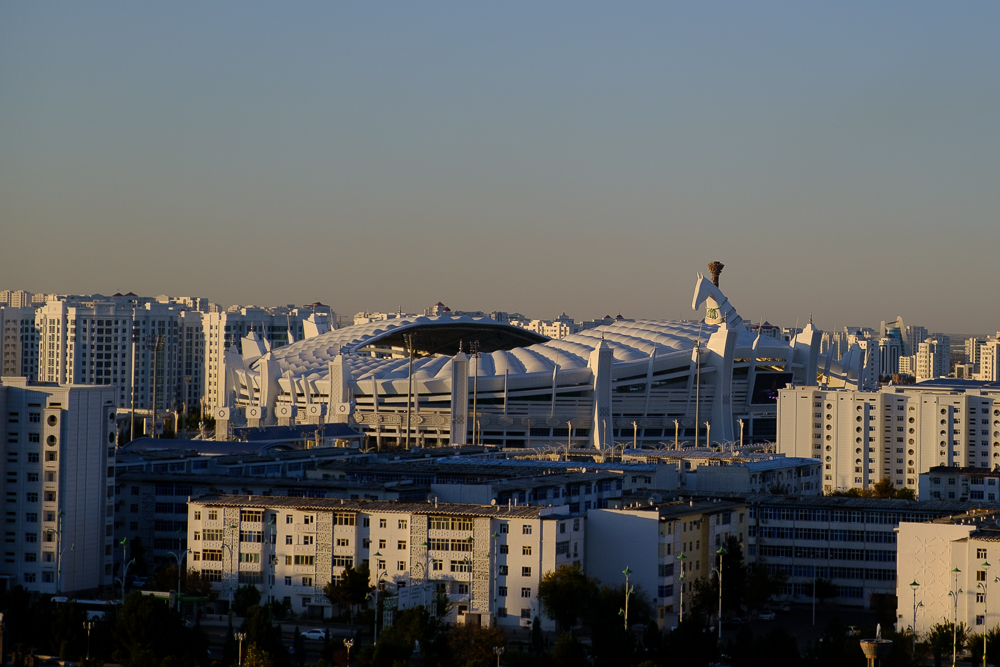 Witte gebouwen in Ashgabat