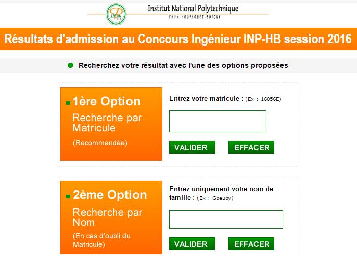 Resultats concours INPHB 2016-2017: Ingénieur INPHB ci session 2016 Côte d'ivoire ci.