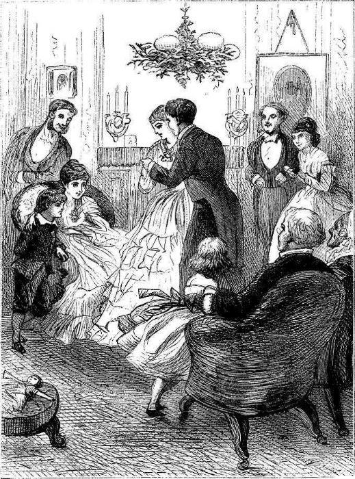 «Под венком омелы», английская гравюра, 1873