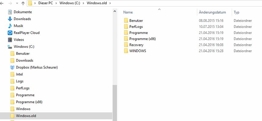 Windows.old-Ordner auf dem Micro-PC: eigentlich nur bei einem Upgrade vorhanden