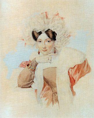 Sokolov, Retrato de Y Sokolova, Acuarela