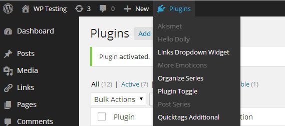 Plugin Toggle - Activate/Deactivate nhanh một plugin từ WordPress Admin Bar