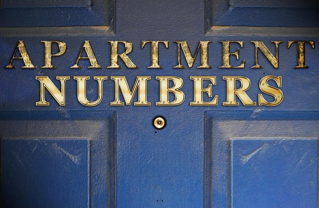 Apartment Numbers Blue Door