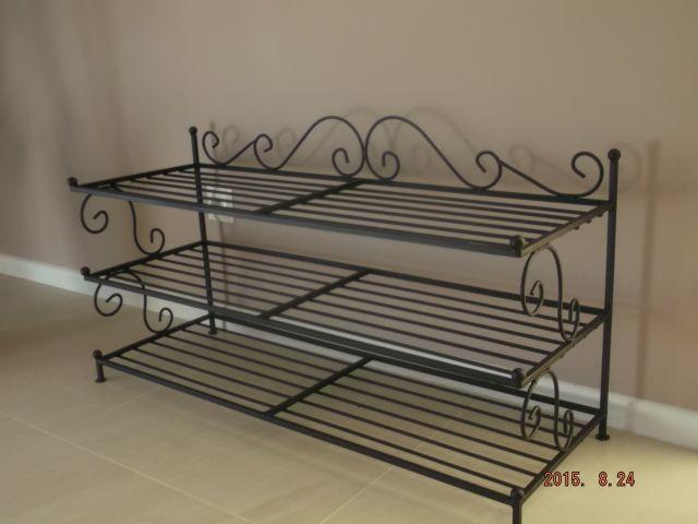 schuhregal schuhschrank schwarz metall 100 cm neu antik 5 farben ebay. Black Bedroom Furniture Sets. Home Design Ideas