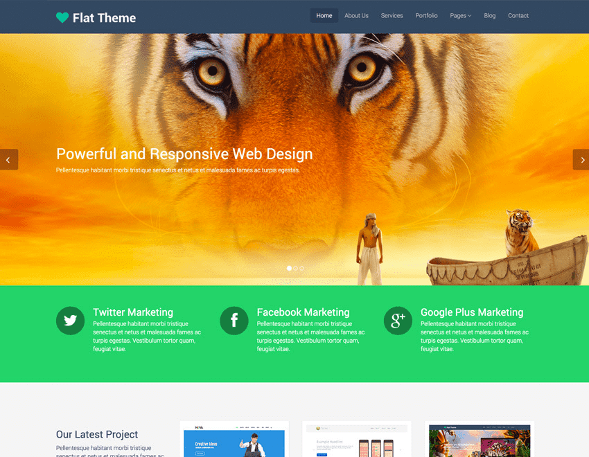 Flat Theme – Free Responsive Bootstrap Template
