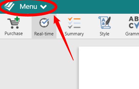 Prowritingaid menu bar