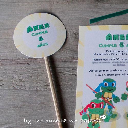 Kit de fiesta de cumpleaños de las tortugas ninja, invitaciones, toppers