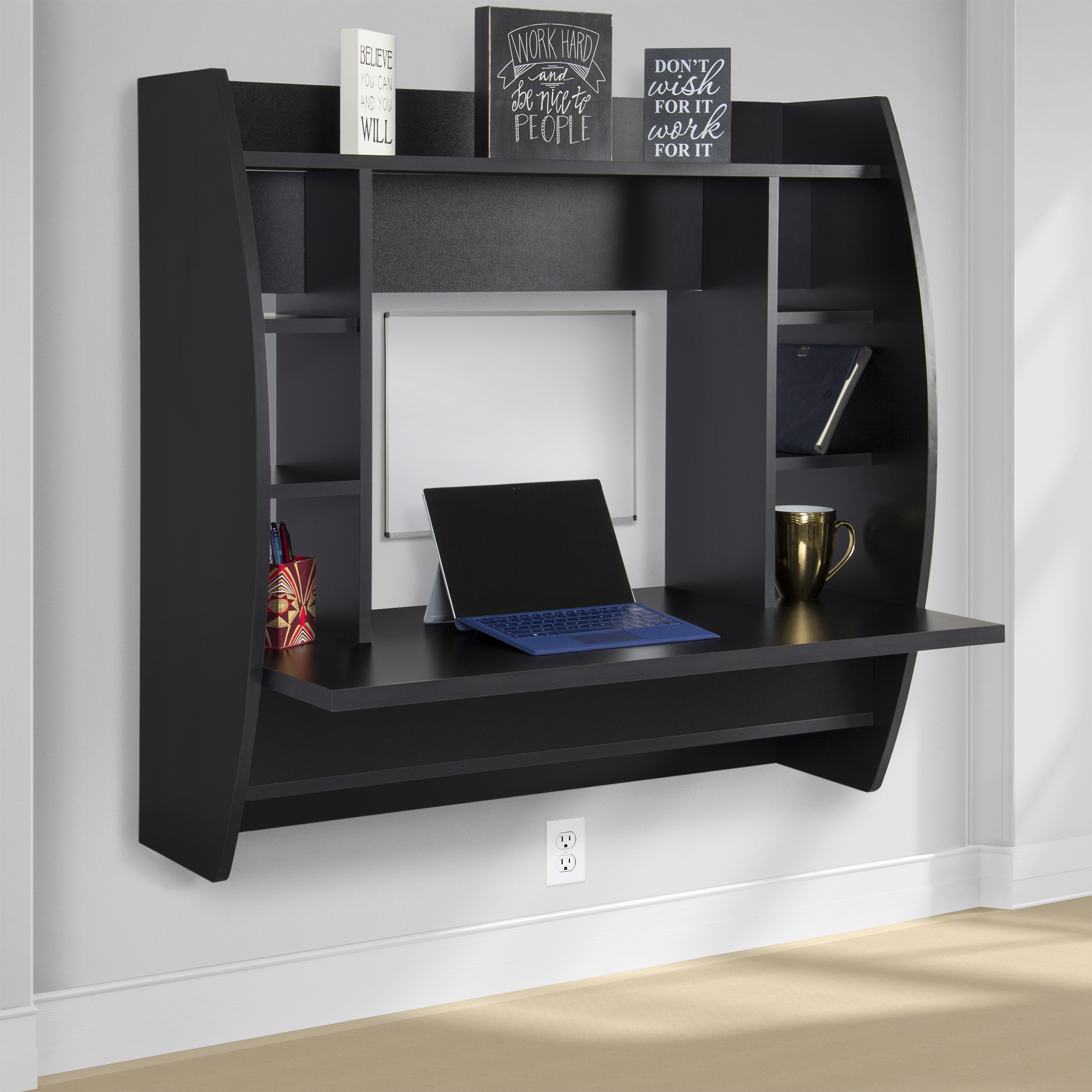 wall mount floating computer desk with storage shelves home work station black ebay. Black Bedroom Furniture Sets. Home Design Ideas