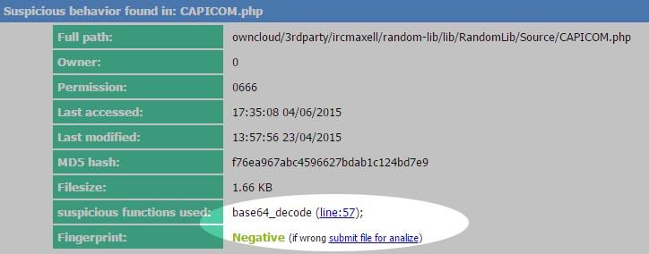 Wykrywanie wywołań base64_decode - web shell detector