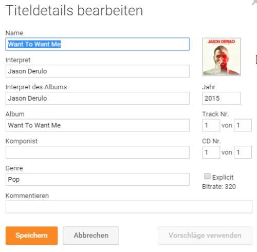 Zusatz-Infos zum Song / Album sowie das Album-Cover helfen bei der Suche.