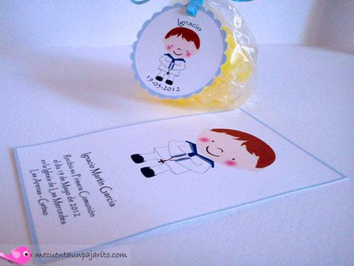 Recordatorio de primera comunión niño, etiquetas