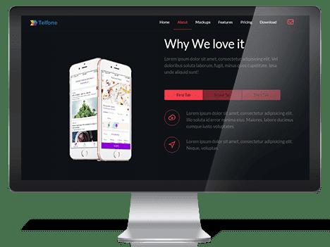 Telfone – Free Responsive App Landing Page