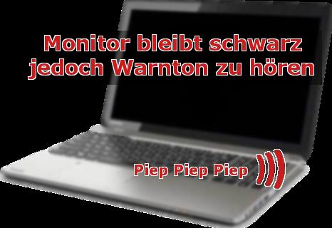 Fehler am Laptop: schwarzer Monitor, nur noch Piep-Töne zu hören (Fehler- / Warnmeldung)