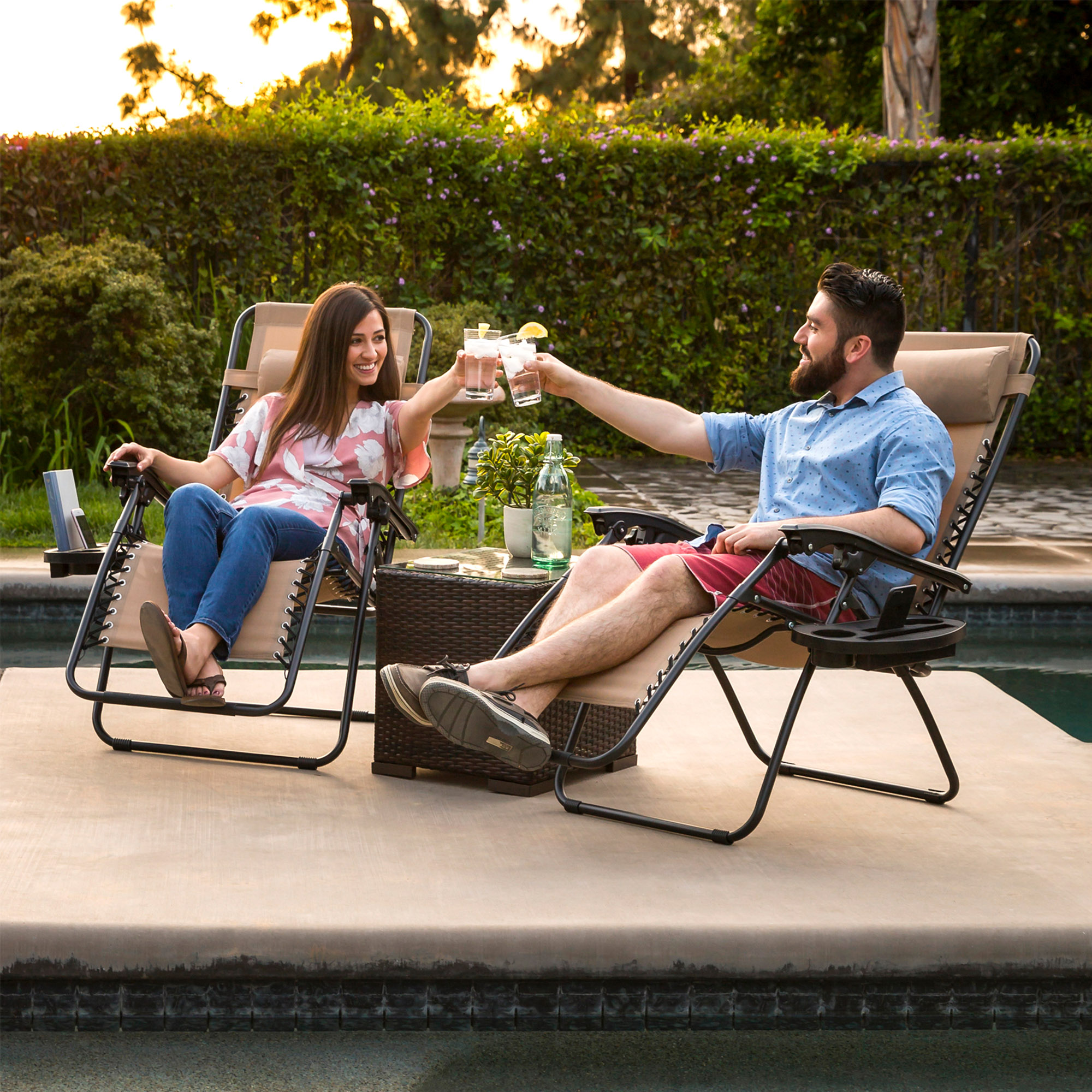 BCP-Set-of-2-Adjustable-Zero-Gravity-Patio-Chair-Recliners-w-Cup-Holders thumbnail 9