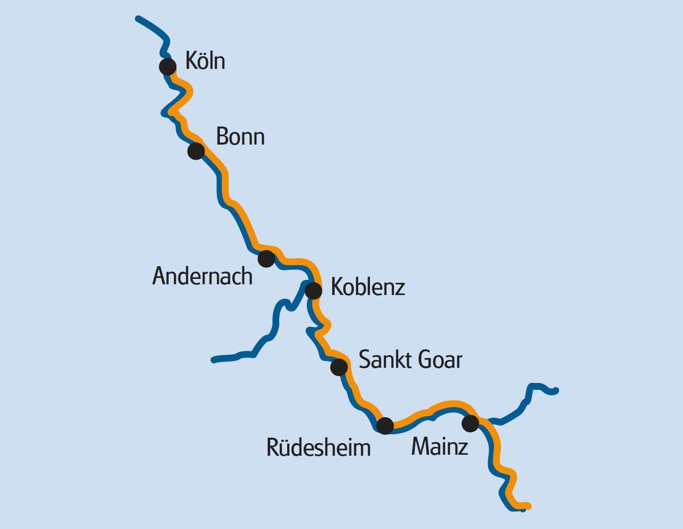 Fiets en vaar route van Mainz naar Keulen - Bovenste Midden-Rijndal