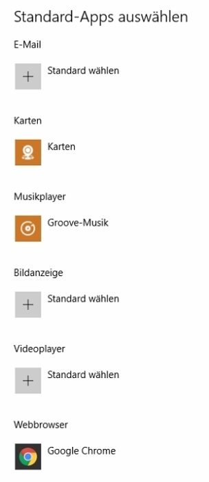 Standard-Apps nach dem Update: eigene Programme nicht mehr zugeordnet