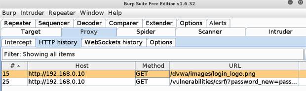 Zapytanie GET do obrazka IMG i zmiana hasła w Damn Vulnerable Web Application (cross-site request forger czyli xsrf).