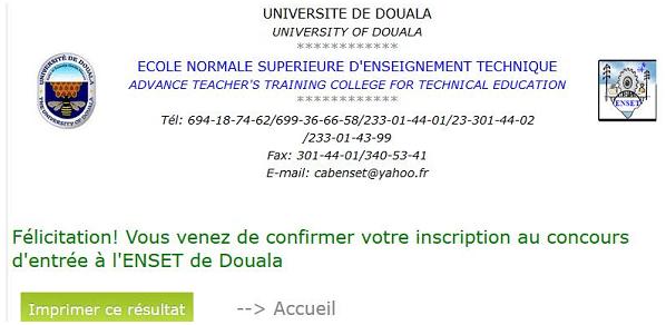 Procedure d'inscription en ligne Concours ENSET Douala Université de Douala