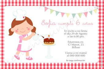 Invitación de cumpleaños de la cocinera