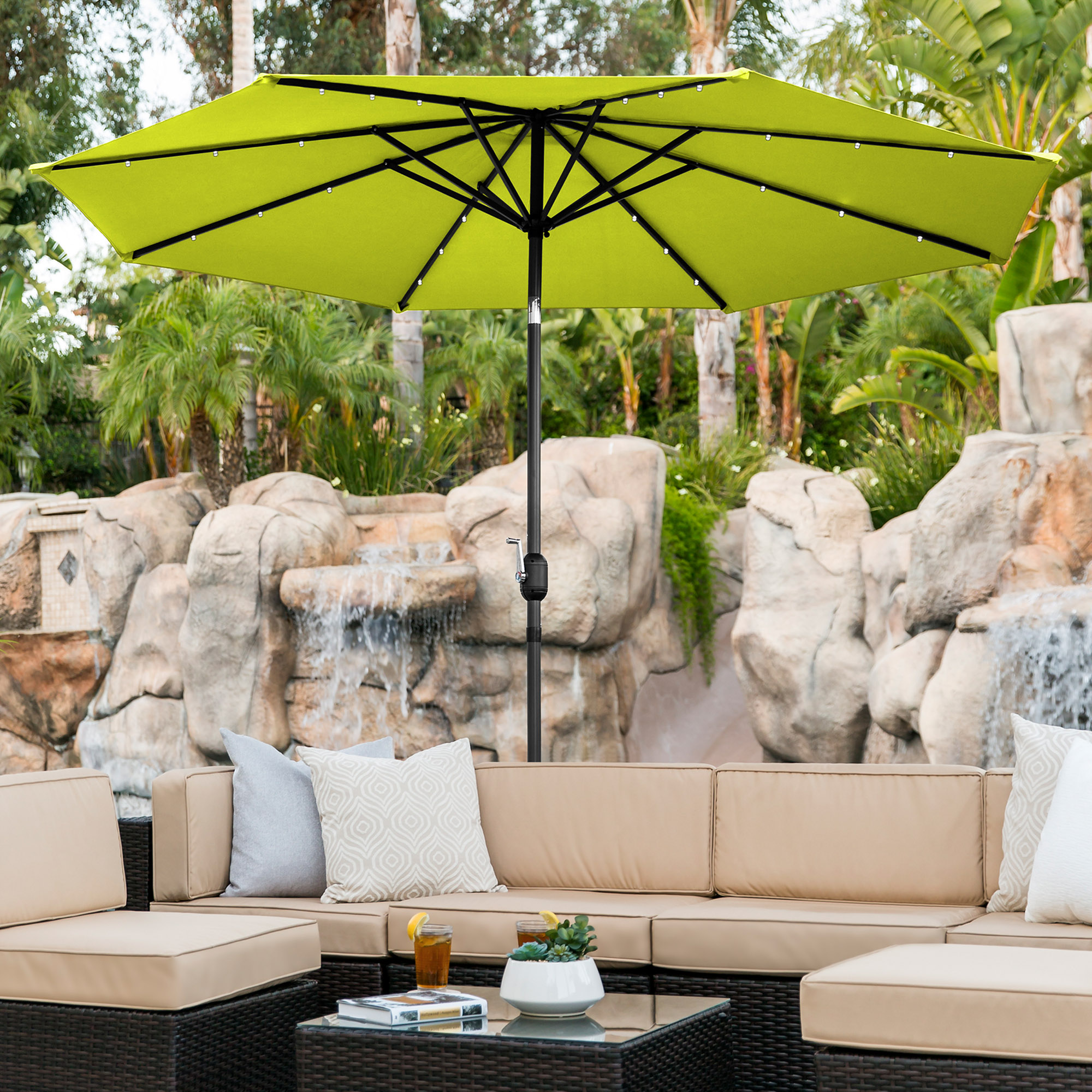 BCP-10ft-Solar-LED-Lighted-Patio-Umbrella-w-Tilt-Adjustment-Fade-Resistance thumbnail 38