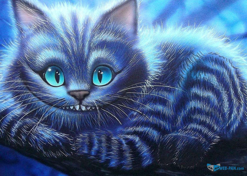 Чеширский котик на картине, всё своими руками делаем!